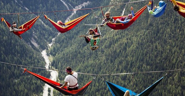 A festival held hundred feet above the ground