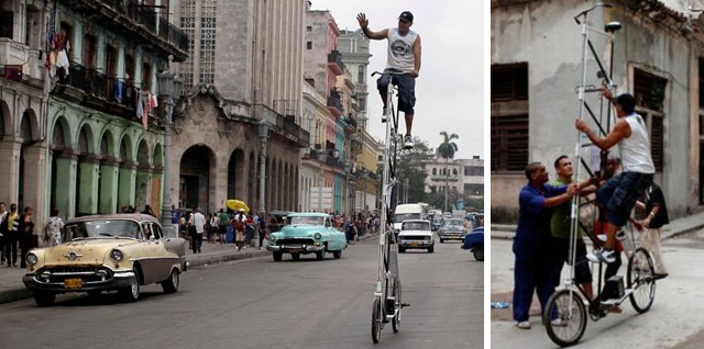 Havana man rides 4-meter high bike
