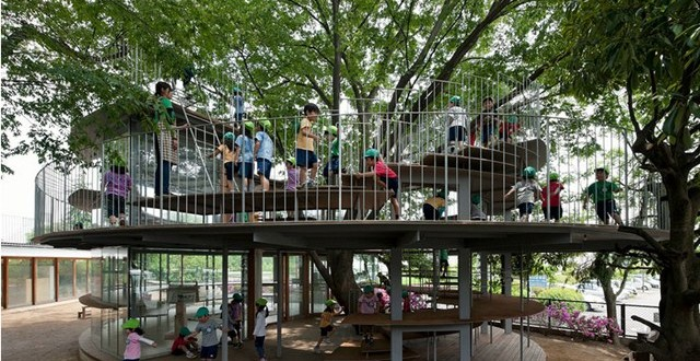 Creative Kindergarten Built Around A Tree