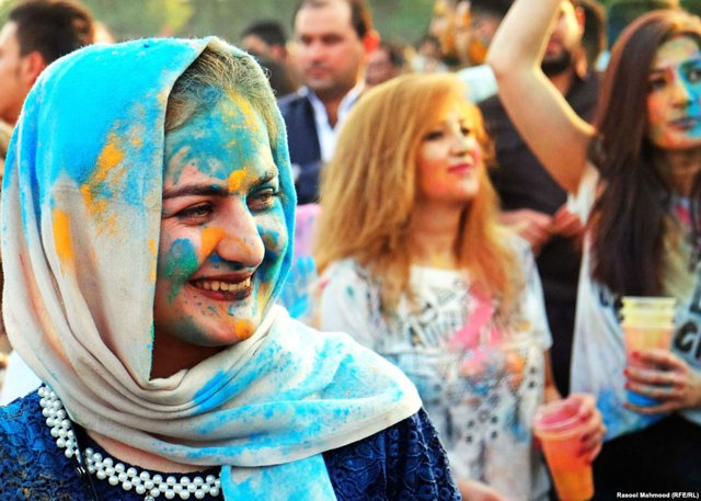 The color festival in Erbil took on a political feel