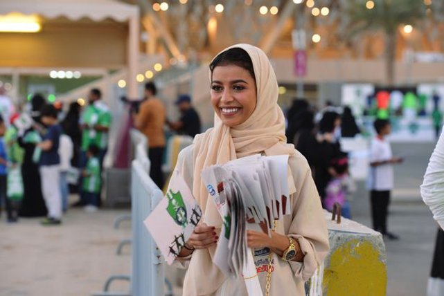 Saudi women attend football stadium for first time
